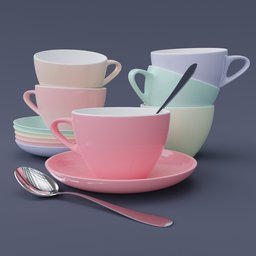 Thumbnail: Cup & Saucer Set Large Colored 1