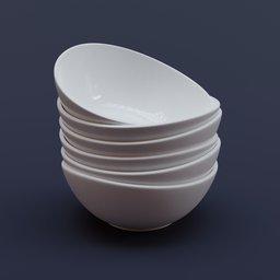 Thumbnail: Porcelain White Curved Bowl Set