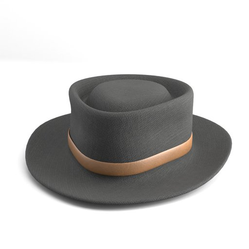 Black Felt Hat with Brown Leather Strap