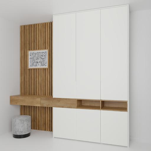Bedroom wardrobe wall white