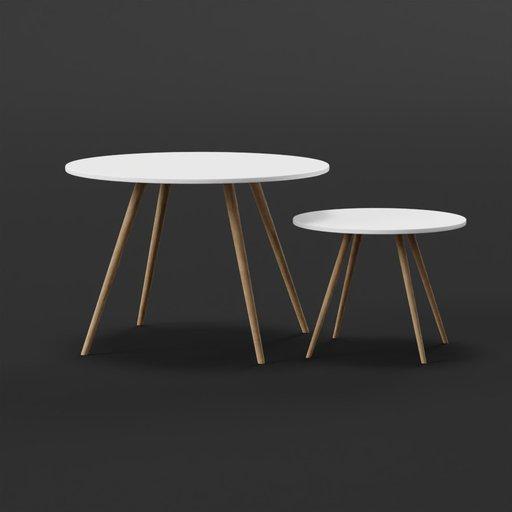 Thumbnail: Small sofa side table set