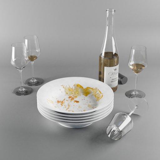 Thumbnail: Kitchenware decoration set (plates and wine)