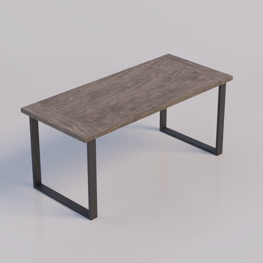 Wood Table with Iron Legs