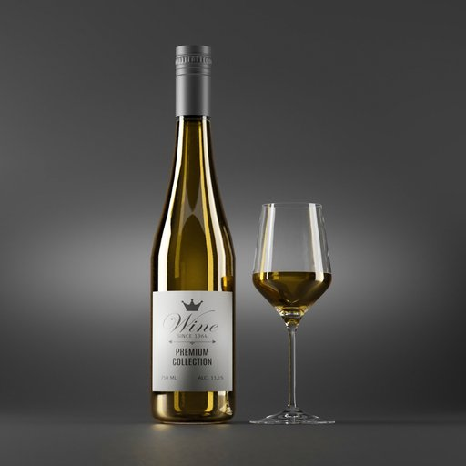 Thumbnail: White Wine Bottle and Glass