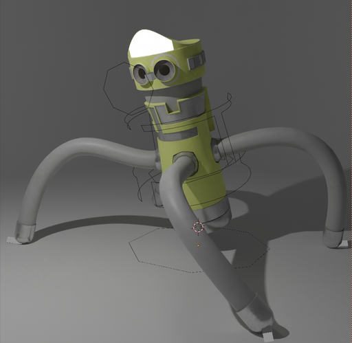 Cylindrical robot - riiged+animated