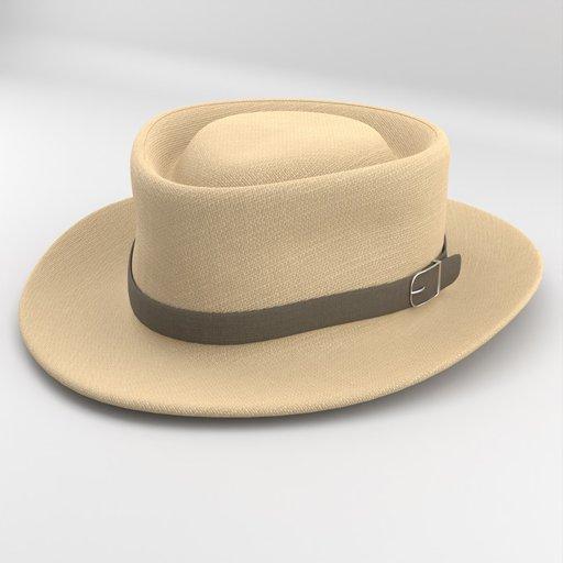 Brown Fedora Felt Hat with Brown Strap