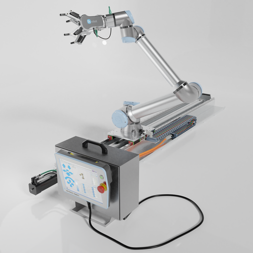 """Thumbnail: Industrial robot """"Universal robots"""" UR10s with running rail and 2 x on robot two finger grippers."""