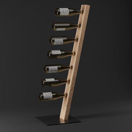 Thumbnail: Wooden wine shelf with wine bottles