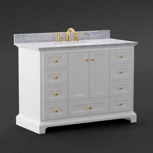 Thumbnail: Bathroom sink vanity marble cabinet furniture