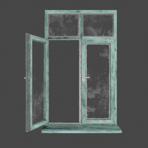 Green painted Wooden window