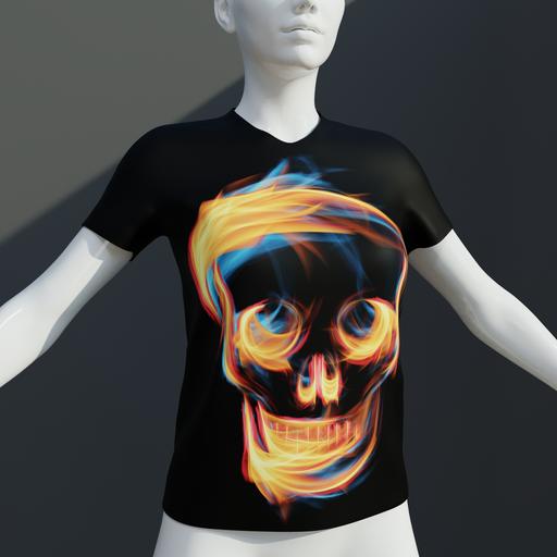 Thumbnail: Ladies t shirt Flaming skull.