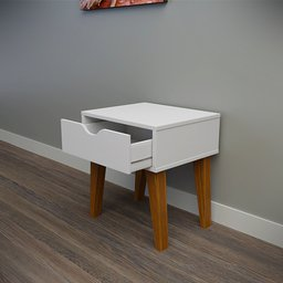 Thumbnail: White bedside table 1 drawer