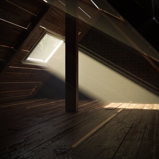 Thumbnail: Old attic with skylight window and dust