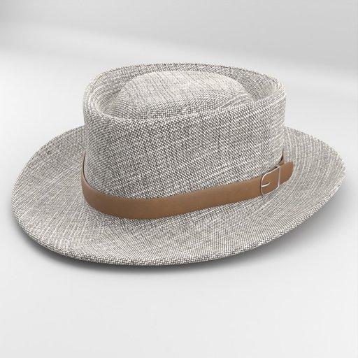 Grey Fedora Felt Hat with Leather Strap