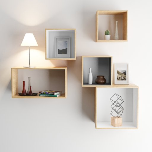 Thumbnail: Modern wooden shelf with decoration, lamp and books