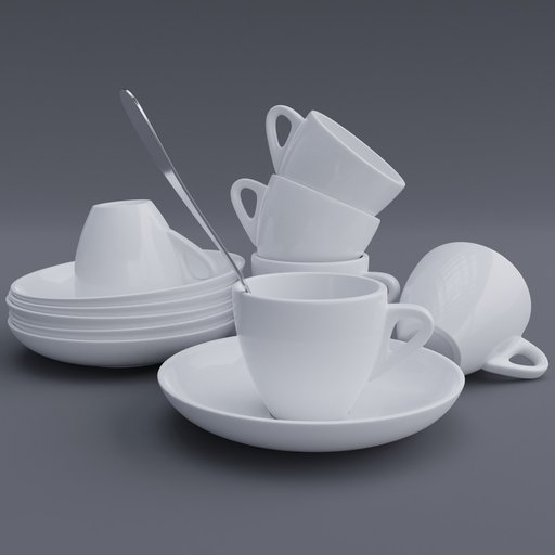 Thumbnail: Cup & Saucer Set Small White 1