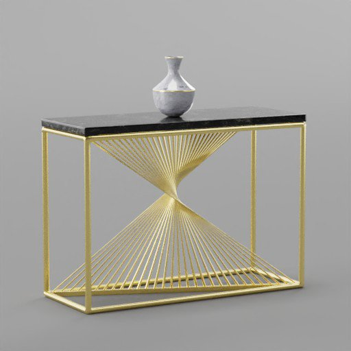 Thumbnail: Marble Console Side Table with Brass Legs and Vase