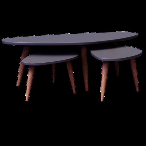 Thumbnail: CLEVELAND, 3 tables basses en bois grise L 50 à L 120 cm