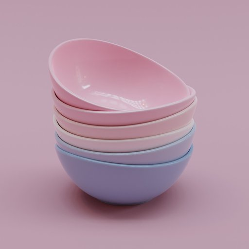 Thumbnail: Porcelain Colored Curved Bowl Set