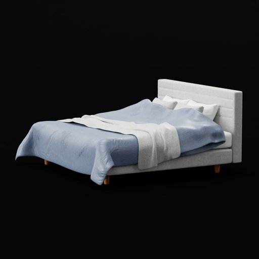 Modern King Sized Navy Grey Bed