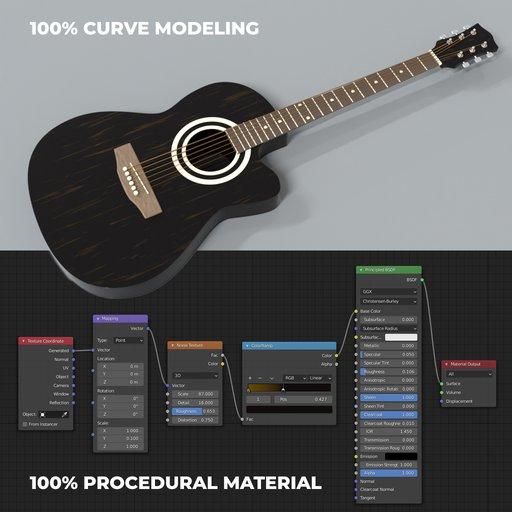 Guitar made of Bezier curve