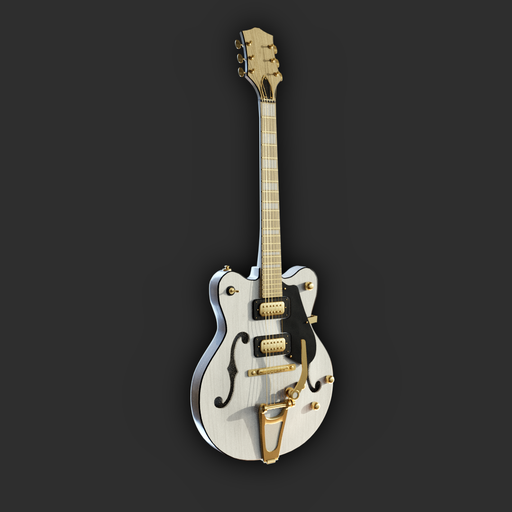 Hollowbody Electric Guitar (ivory and gold)
