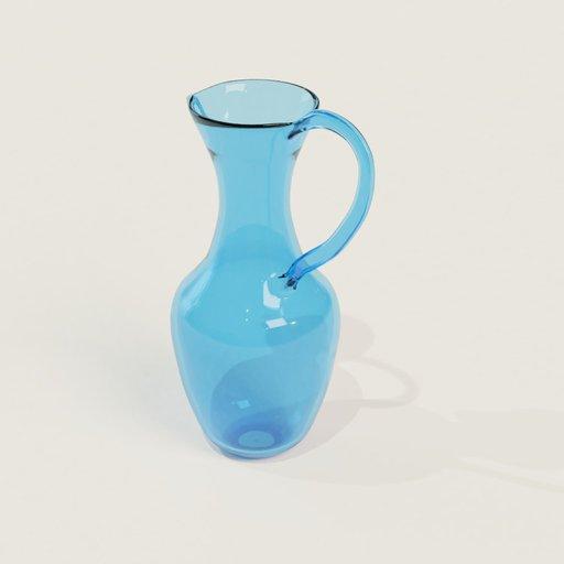 Thumbnail: Large tall blue glassjug