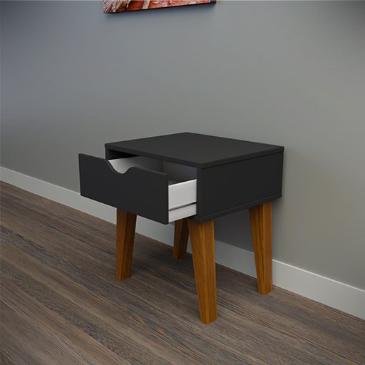 Thumbnail: Black bedside table 1 drawer