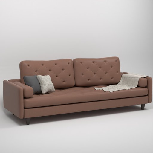 Thumbnail: Tanned Brown Leather Couch Sofa
