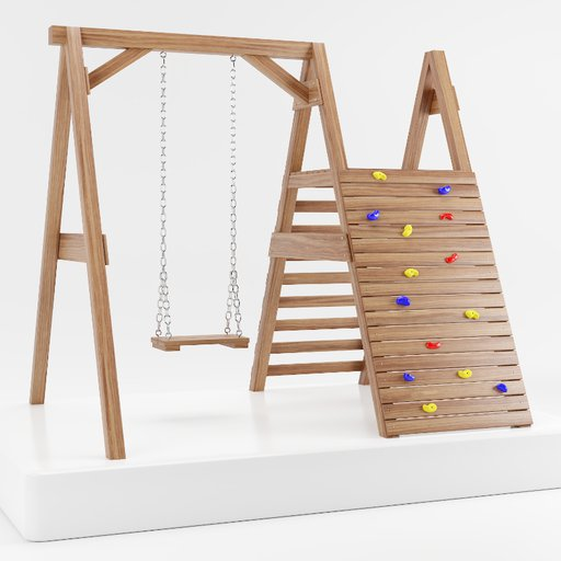 Thumbnail: Wooden swing climbing wall