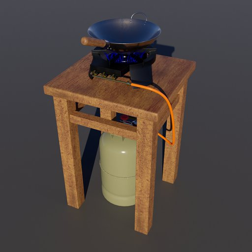 Thumbnail: Simple cooking area with gas cooker, gas bottle and wok.