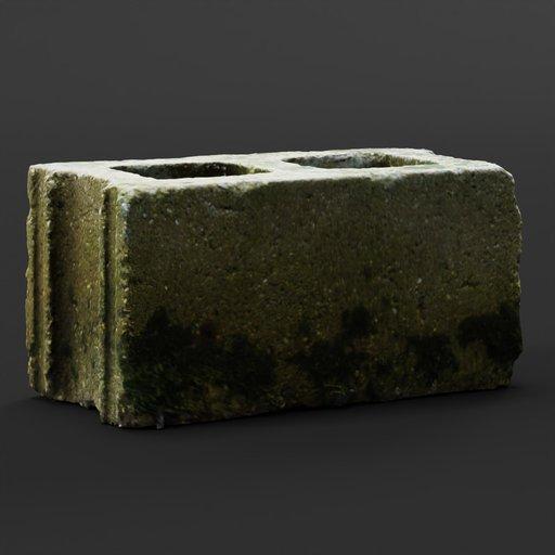 Thumbnail: Old Mossy Cinder Block