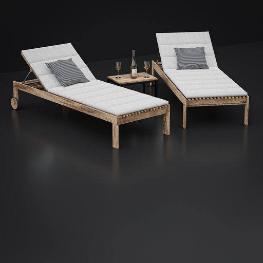 Thumbnail: Garden Lounger Set with table and wine