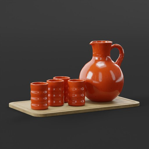Thumbnail: Tray with clay jug and cups