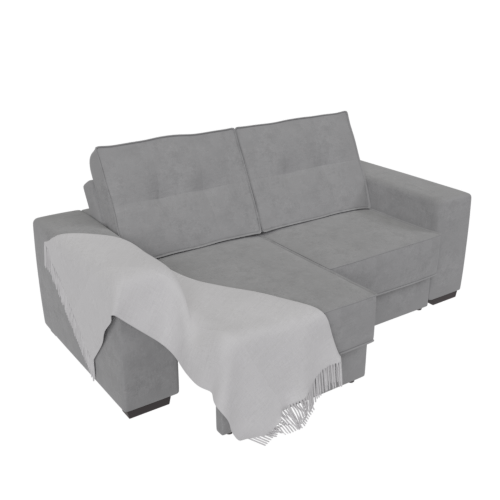 Thumbnail: Open retractable sofa with blanket