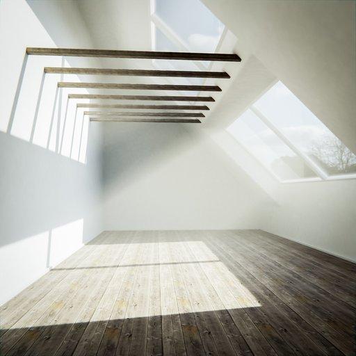 Room with skylight windows