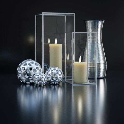 Thumbnail: Decoration set with candles and vase