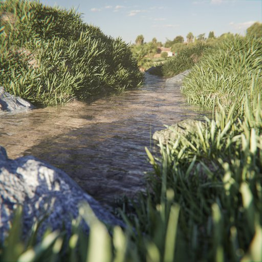 Thumbnail: Small stream with grassy hills on the bank